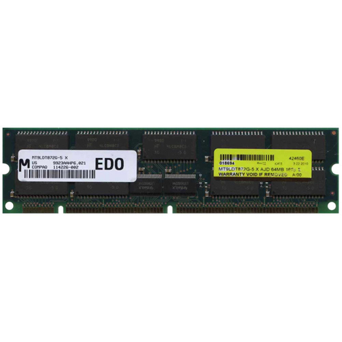 Micron MT9LDT872G-5 64MB 168p 50ns 9c 8x8 4K Buffered ECC EDO DIMM RFB