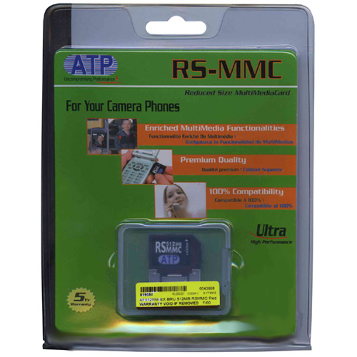 ATP AF512RM-EX 512MB RSMMC Reduced Size MultiMedia MMC Card with extender Retail