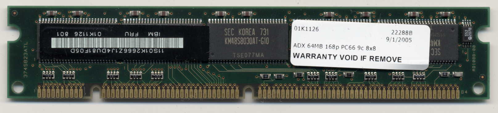 IBM  64MB 168p PC66 9c 8x8 ECC SDRAM DIMM