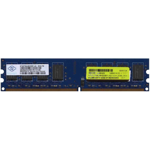Nanya NT2GT64U8HD0BY-AD CCK 2GB 240p PC2-6400 CL6 16c 128x8 DDR2-800 2Rx8 1.8V UDIMM RFB  W/hp label