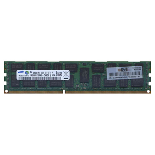 Samsung M393B5170FH0-CH9 4GB 240p PC3-10600 CL9 36c 256x4 DDR3-1333 2Rx4 1.5V ECC RDIMM W/Hp label