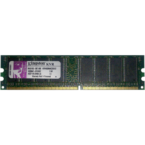 Kingston KVR400X64C25/512 512MB 184p PC3200 CL2.5 16c 32x8 DDR DIMM T001 NOB