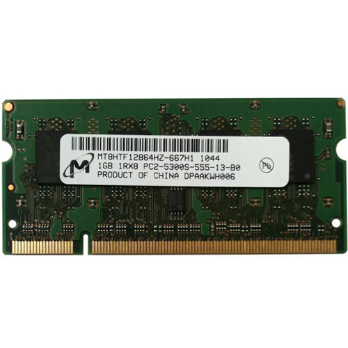 Micron MT8HTF12864HZ-667H1 BXT 1GB 200p PC2-5300 CL5 8c 128x8 DDR2-667 1Rx8 1.8V SODIMM