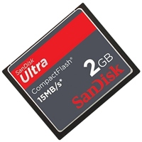 SanDisk SDCFH-002G-A11 2GB 50p CF CompactFlash Card Ultra 15MB/s 100x Clam