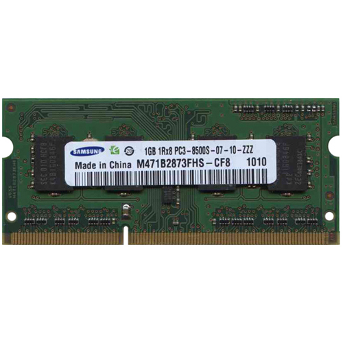 1GB 204p PC3-8500 CL7 8c 128x8 DDR3-1066 1Rx8 1.5V SODIMM