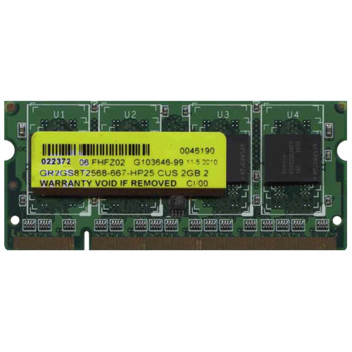 Gigaram GR2GS8T2568-667-HP25 CUS 2GB 200p PC2-5300 CL5 8c 256x8 DDR2-667 1Rx8 SODIMM NOB