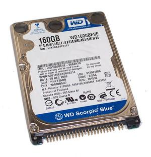 Western Digital WD1600BEVE HFQ 160GB IDE ATA100 5400RPM 2.5in x 9.5mm 44p 100MB/s HDD  Refurbished