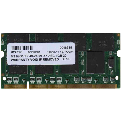 Micron/3rd MT1GS16D648-21-MPXX ABC 1GB 200p PC2100 CL2.5 16c 64x8 DDR 2Rx8 2.5V SODIMM