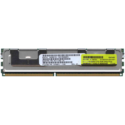 Sun Micro 511-1152-SAM 4GB 240p PC2-5300 CL5 36c 256x4 Fully Buffered ECC DDR2-667 1.5V FBDIMM Sun O