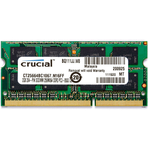 CRUCIAL CT25664BC1067.M16FF 2GB 204p PC3-8500 CL7 16c 128x8 DDR3-1066 2Rx8 1.5V SODIMM