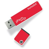 "Swissbit PEN512MB-SWISS 512MB USB 2.0 FlashDrive Rectangular Red w/ Cap and software ""philm poc"