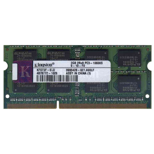 Elpida/Kingston KF073F-ELD 2GB 204p PC3-10600 CL9 16c 128x8 DDR3-1333 2Rx8 1.5V SOCNFDIMM-RFB