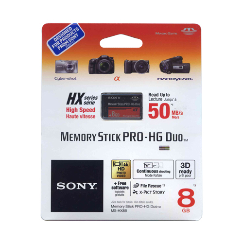 Sony MS-HX8B/T1 CKC 8GB 10p MSPD r50MB/s HX Series Memory Stick Pro-HG Duo w/o Adapter Retail