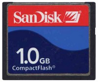 SanDisk SDCFJ-1024 1GB 50p CF CompactFlash Card Sandisk  77x 11/4MBs Red and Blue label Bulk w/SN