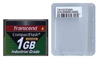 Transcend TS1GCF200I DFP 1GB 50p CF 200x Industrial Grade Transcend Compact Flash Card Clam