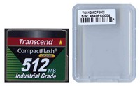 Transcend TS512MCF200I 512MB 50p CF 200x Industrial Grade Compact Flash Card Clam