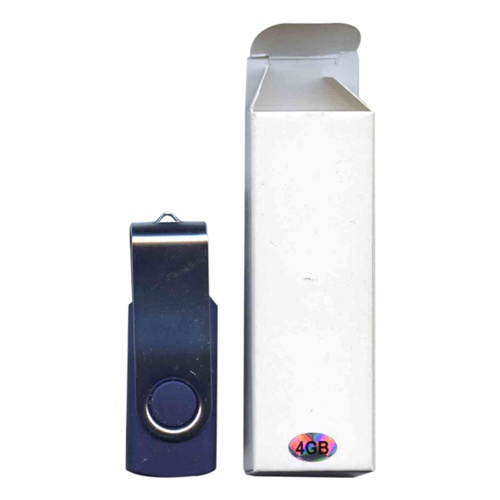 Gigaram UDF120-4GB-BL DDN 4GB USB 2.0 FlashDrive Rectangular Swivel Dark Blue/Silver in White Box