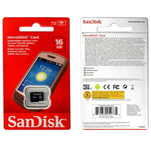 SanDisk SDSDQM-016G-B35 CRG 16GB 8p MSDHC Class 4 UHS-1 Micro Secure Digital High Capacity Card w/o