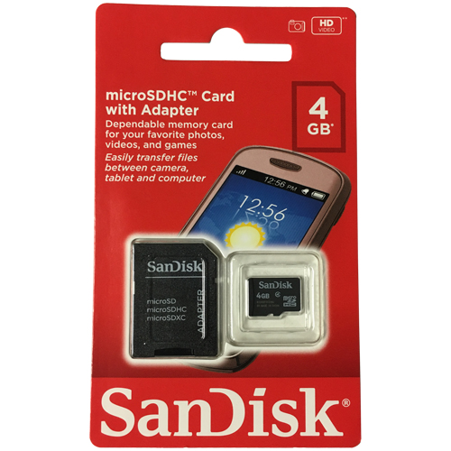 SanDisk SDSDQM-004G-B35A 4GB 8p Transflash MSDHC Class 4 Micro Secure Digital High Capacity Card w/