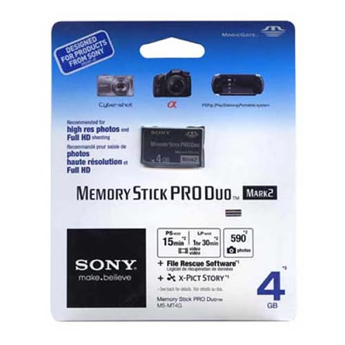 Sony MS-MT4G/T1 COD 4GB 10p MSPD Memory Stick Pro Duo Mark 2 Black w/o Adapter Retail