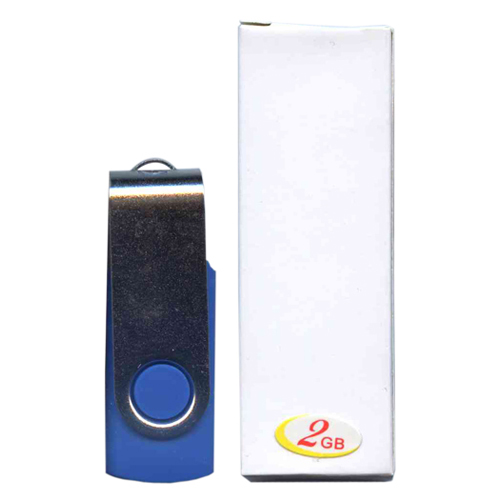 Gigaram UDF120-2GB-BL 2GB USB 2.0 FlashDrive 18/3 MBs 120x Rectangular Swivel Blue/Silver in white b