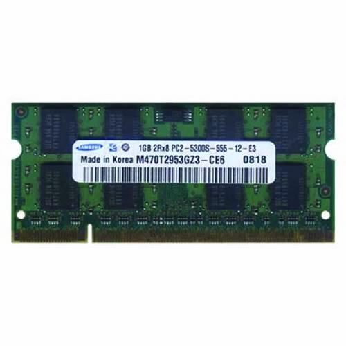 Samsung M470T2953GZ3-CE6 1GB 200p PC2-5300 CL5 16c 64x8 DDR2-667 SODIMM Apple MacBook RFB