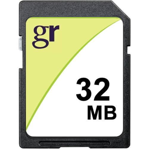 Gigaram SD-32MB-LI 32MB 9p SD Secure Digital Card r10MB/s w5MB/s with GR Label (SM2682+MIC)Claim