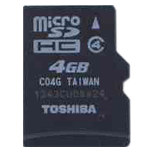 Toshiba SD-C04G2T2 4GB 8p MSDHC Class 4 Micro Secure Digital High Capacity Card Bulk