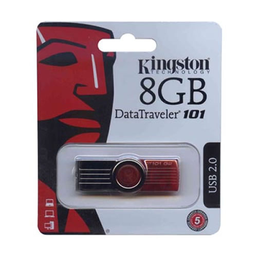 Kingston DT101G2/8GB 8GB USB 2.0 Flash Drive r10MB/s w5MB/s Data Traveler 101 G2 Swivel Red and Silv
