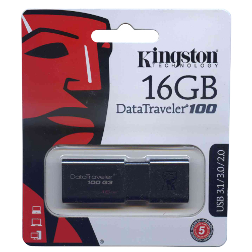 Kingston DT100G3/16GB MAE 16GB USB 3.1 Flash Drive r40MB/s w10MB/s DataTraveler 100 G3 Black Retail