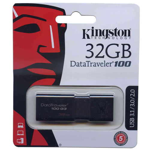 Kingston DT100G3/32GB 32GB USB 3.1 FlashDrive r40MB/s w10MB/s DataTraveler 100 G3 Black Retail