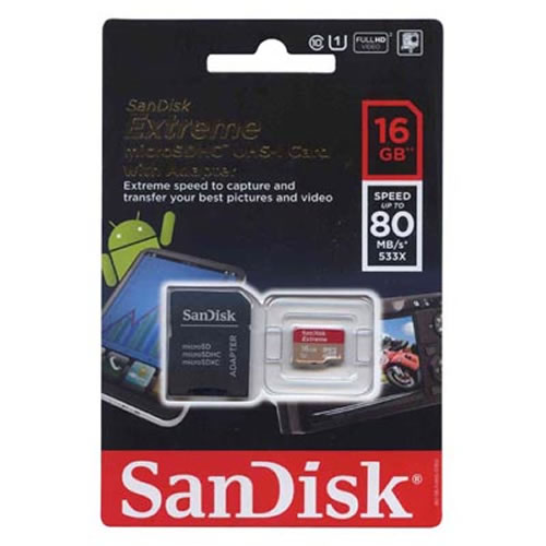 SanDisk SDSDQX-016G-U46A 16GB 8p MSDHC Class 10 r80MB/s w30MB/s 533X UHS-I Extreme Micro Secure Digi