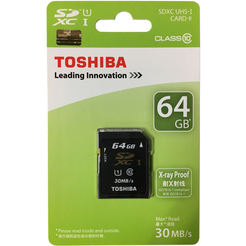 Toshiba SD-K064GR7AR30 64GB 9p SDXC r30MB/s w12MB/s Class 10 Secure Digital Extended Capacity Card R
