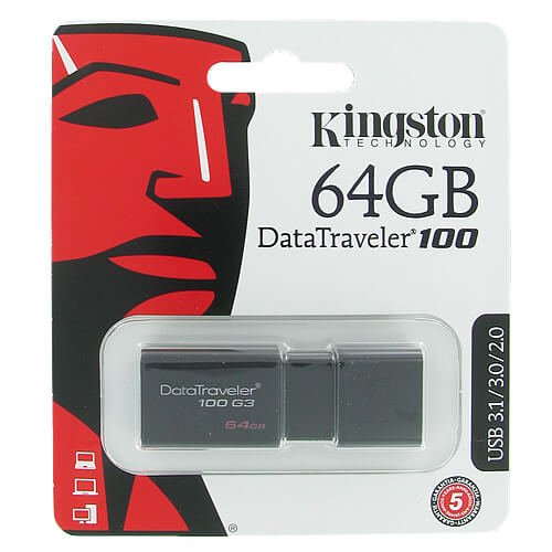 Kingston DT100G3/64GB CXG 64GB USB 3.1 Flash Drive r40MB/S w10MB/s Data Traveler 100 G3 Black Retail