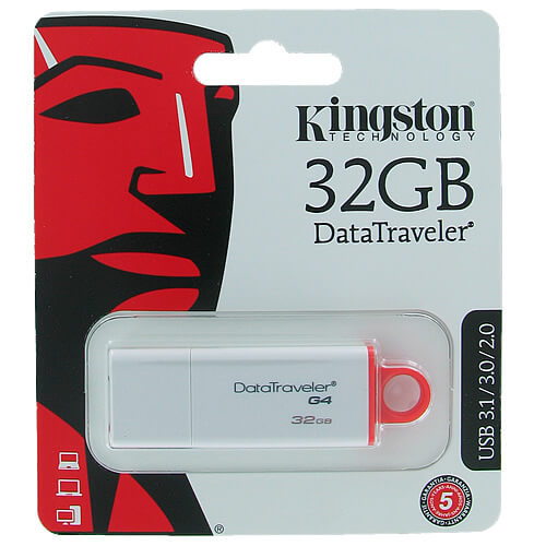 Kingston DTIG4/32GB CUY 32GB USB 3.0 Flash Drive r40MB/ w10MB/s Data Traveler G4 White/Red w/ Cap Re