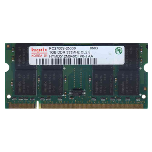 1GB 200p PC2700 CL2.5 16c 64x8 DDR333 2Rx8 2.5V SODIMM RFB