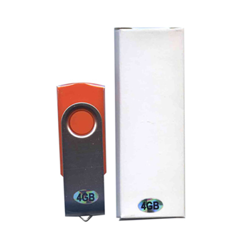 Gigaram UDF120-4GB-OR-LI DDN 4GB USB 2.0 Pendrive 15/5 MBs 99x Swivel Orange/Silver Bulk in White Bo