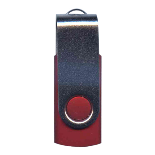 Gigaram UDF120-32GB-RD 32GB USB 2.0 FlashDrive Rectangular Swivel Red/Silver Bulk