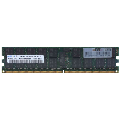 Samsung M393T5160QZA-CE6Q0 4GB 240p PC2-5300 CL5 36c 256x4 DDR2-667 2Rx4 ECC RDIMM     W/HP  label