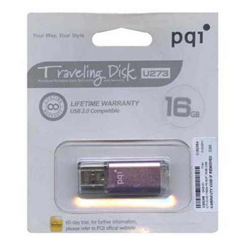 PQI 6273-016GR4009-PK 16GB USB 2.0 Pendrive Mobile Disk Metallic Rectangle with cap Flashdrive PQI P