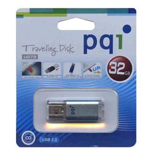 PQI 6273-032GR2010-LB 32GB USB 2.0 Pendrive Metallic Rectangular wuth cap U273 Light Blue PQI Flashd