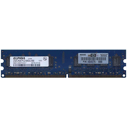 Elpida EBE21UE8AFFA-8G-F 2GB 240p PC2-6400 CL6 16c 128x8 DDR2-800 2Rx8 1.8V UDIMM  RFB W/HP  label