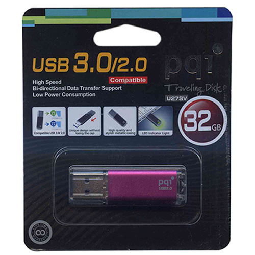 PQI 627V-032GR5004-MP 32GB  USB 3.0 Pendrive PQI U273V Metallic Pink Retail w/peg hole