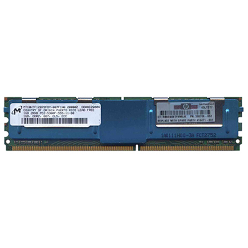 1GB 240p PC2-5300 CL5 18c 64x8 Fully Buffered ECC DDR2-667 2Rx8 FBDIMM RFB with HP Label