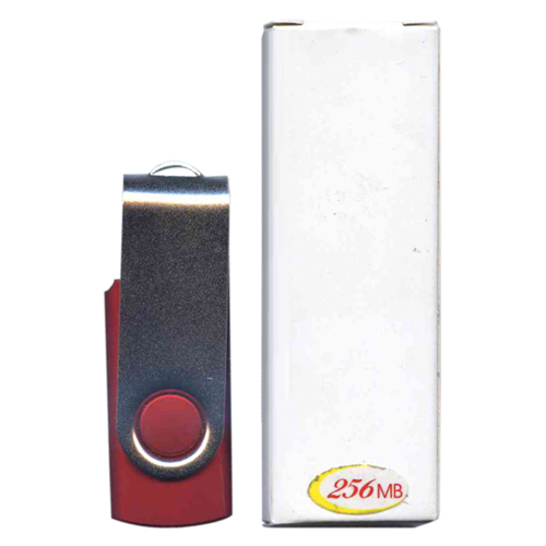 256MB USB 2.0 FlashDrive Rectangular Swivel Silver/Red in White Box