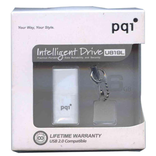 PQI 6819-016GR1001-WT 16GB USB 2.0 Flash Drive Intelligent Drive U819L White w/chain (U819L16GWT) Re