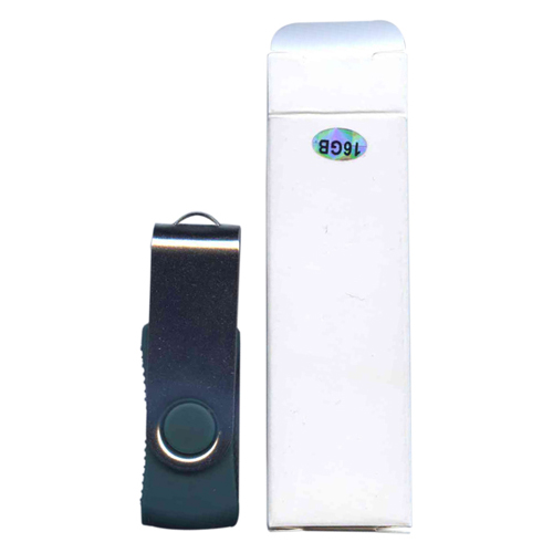 Gigaram UDF120-16GB-GR 16GB USB 2.0 FlashDrive Rectangular Swivel Green/ Silver in White Box