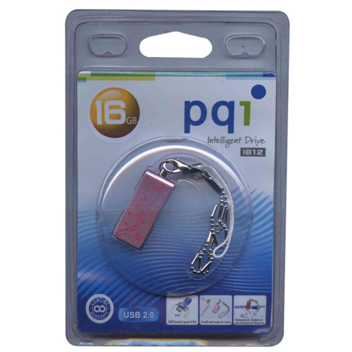 PQI 6812-016GR200-PK 16GB  USB 2.0 Pico Swivel Intellegent Pink PQI Flashdrive i812 Retail w/peg hol