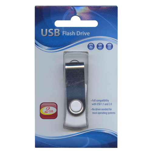 Gigaram UDF120-2GB-WH DDM 2GB USB 2.0  Flashdrive Rectangular Swivel White/ Silver Retail w/peg hole