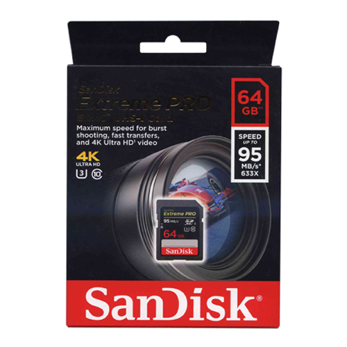 SanDisk SDSDXPA-064G-X46 64GB 9p SDXC r95MB/s 633x Class 10 UHS-1 U3 Extreme Pro Secure Digital Exte